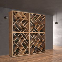 Weinregal ZEUS aus Eichen Holz massiv natur und braun gebeizt The unique wine rack ZEUS ensures chaos with system. Its original design with the unusual, oblique subdivision brings order to your wine c Wine Storage Cabinets, Wine Shelves, Shelving, Crate Shelves, Wine Rack Wall, Wine Wall, Wine Rack Cabinet, Home Wine Cellars, Wine Cellar Design