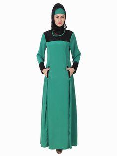 MyBatua Rihab Crepe Bottle Green Abaya | Available in sizes XS to 7XL, lenth 50 to 66 inches.  Buy link :  https://www.mybatua.com/catalogsearch/result/?q=rihab+crepe+bottle+green+abaya