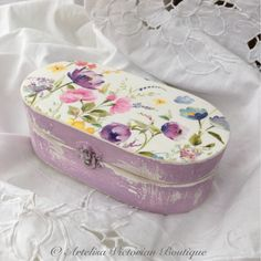 Wooden Jewellery Box, Victorian Vintage Box, Rustic Keepsake Box, Desk Storage Box, Trinket Box, Gift For Her, Shabby Gift Box, Lilac Floral by ArtelisaGiftBoutique on Etsy https://www.etsy.com/uk/listing/270739994/wooden-jewellery-box-victorian-vintage