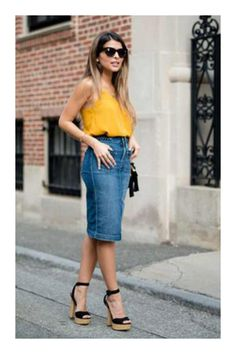 Mustard On Denim Outfit Inspo by The Girl From Panama Long Skirt Outfits For Summer, Skirt Outfits Modest, Denim Skirt Outfits, Modest Wear, Denim Outfit, Casual Skirts, Casual Outfits, Denim Skirts, Denim Fashion