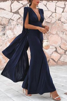 Smileven Pakistan Black Formal Evening Dresses Sexy V Neck Chiffon African Prom Gowns Floor Length Long Formal Party Gowns Cocktail Party Outfit, Party Dress, Cocktail Night, Sexy Dresses, Evening Dresses, Prom Gowns, Cape Jumpsuit, Jumpsuit Outfit, Casual Jumpsuit
