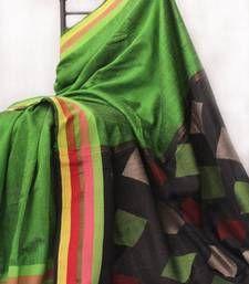 Buy Light Green Self Woven silk saree hand-woven-saree online