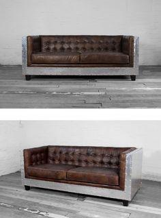 Металлический диван в стиле лофт в кожаной обивке https://lafred.ru/catalog/catalog/detail/39660258183/