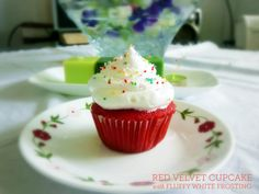 Red Velvet Cupcake with Fluffy White Frosting