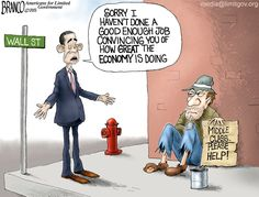 Wall Street to Main Street Wall Street to Main Street, Obama's crony economic policy isn't helping the middle class or the little guy. A.F.Branco Cartoon ©2015.
