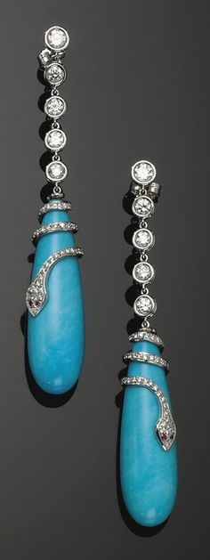 PAIR OF WHITE GOLD, TURQUOISE, RUBY AND DIAMOND PENDENT EARRINGS WITH SNAKE DECORATION