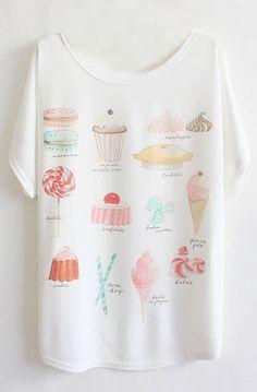 White Batwing Short Sleeve Cakes Print T-Shirt - Sheinside.com