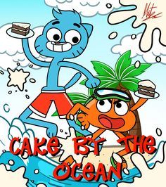 Teen Gumball and Darwin: Cake by the Ocean by RadiumIven on DeviantArt Adventures Of Gumball, World Of Gumball, Darwin, Cartoon Network, Cool Words, Smurfs, Anime, Teen, Fan Art
