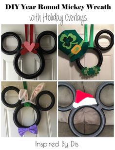DIY Year Round Mickey Wreath with Holiday Overlays // Inspired By Disney Disney Diy, Deco Disney, Disney Bride, Disney Theme, Disney Crafts, Disney Ideas, Disney Magic, Mickey Christmas, Christmas Decorating Ideas
