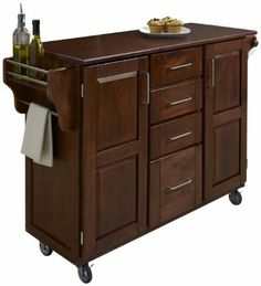 Home Styles Create-a-Cart, Cherry Finish with Cherry Top by Home Styles. $399.19. Handy spice rack with Towel bar and Paper Towel holder. 3/4-inch cherry finished wood top. Heavy duty locking rubber casters for easy mobility and safety. 2 cabinet doors open to storage w/adjustable shelf inside. 4-Utility drawers. Home Styles Create-a-cart in a cherry finish with a 3/4-inch Cherry finished wood top features solid wood construction and 4-Utility drawers; 2 cabin...