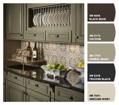 Distressed Green Kitchen Cabinets cabinetry and island are painted sherwin williams pewter green