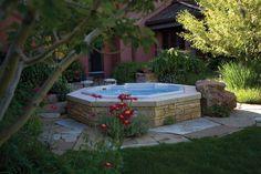 patio hot tub~ partially sunken