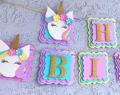 Unicorn Birthday Banner, Unicorn Decorations/Unicorn Happy Birthday Banner Source by Unicorn Birthday Decorations, Unicorn Centerpiece, Paper Party Decorations, Diy Birthday Banner, Happy Birthday Banners, Unicorn Birthday Parties, Unicorn Party, Birthday Party Themes, Farm Birthday