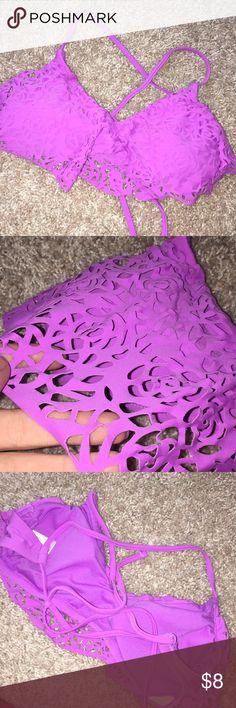 Target Criss Cross Swim Top Never worn, perfect condition! Cross cross back, floral cut out pattern Xhilaration Swim Bikinis