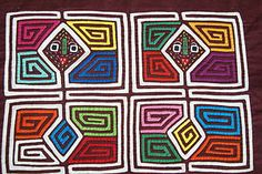 Kuna Abstract Traditional Art Mola Hand stitched Applique Shaman Nuchu Color 80A. Collected in the field asmatcollection on ebay.com and bonanza.com cheetahdmr@aol.com if you have any questions.