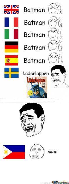 Batman in different languages. - Batman Funny - Funny Batman Meme - - Batman in different languages. The post Batman in different languages. appeared first on Gag Dad. Funny Love, Funny Kids, Batman Meme, Batman Batman, Batman Stuff, Funny Translations, Funny Images, Funny Pictures, Lie To Me