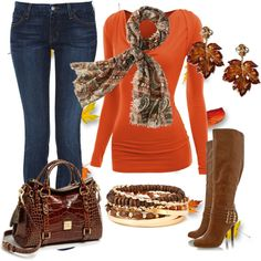 """orange/brown casual outfit idea"" things to wear with brown boots"