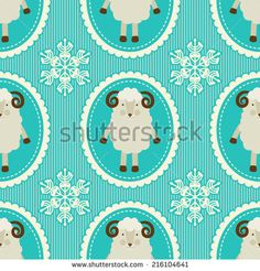Seamless pattern with sheep. Symbol of the year. - stock vector