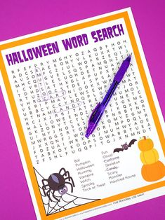 This spooky Halloween Word Search printable puzzle is a ton of fun for kids and families! Perfect for teachers and students in the school classroom! Halloween Bingo Cards, Halloween Maze, Halloween Words, Halloween Games For Kids, Kids Party Games, Halloween Word Search Printables, Halloween Crafts, Halloween Office, Halloween Parties