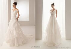 Layered white wedding dress from Aire Barcelona -- Aire Barcelona Wedding Gowns
