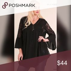 💖Date Night Sexy Tunic-Black💖 Bell Sleeved Tunic with Lace and Crochet Details. Also in Navy! Tops Tunics