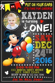 Tarjeta de invitación de Mickey Mouse