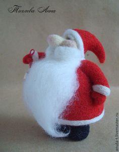 """Купить Интерьерная игрушка из шерсти """" Дедушка Мороз"""" - ярко-красный, дед мороз"""