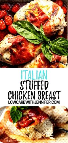 These mozzarella cheese stuffed chicken breast are filled with Italian flavors and wrapped in prosciutto. They are baked in the oven until perfect and I show you my trick for keeping the stuffing from melting out! Italian Stuffed Chicken, Italian Chicken Breast, Healthy Stuffed Chicken, Cheese Stuffed Chicken, Keto Chicken, Yummy Chicken Recipes, Yum Yum Chicken, Sausage Recipes, Keto Recipes