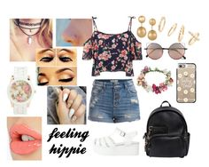 """""""#feeling hippie"""" by ribeeirotelminha on Polyvore featuring Pieces, Dsquared2, Casetify, Linda Farrow, Topshop, Aéropostale, Kenneth Jay Lane, BP., Parisian and Charlotte Tilbury"""