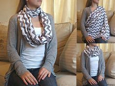SHIPS NOW -- Nursing Scarf / Infinity Scarf / Nursing Cover - Pretty Gray Chevrons Jersey Knit - 30 x 60 inches $20