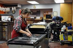 Students learn the ins and outs of typesetting and handprinting in the letterpress studio.