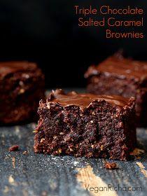 Vegan Richa: Triple Chocolate Salted Caramel Brownies. Vegan Recipe
