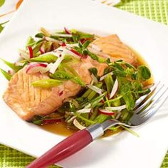 Mirin-poached salmon w/ spring salad - 30 mins., 4 servings (3-4 oz. fish and 3/4 c salad each)