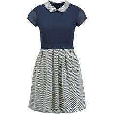 WAL G. Summer dress navy ($38) ❤ liked on Polyvore featuring dresses, dark blue, blue peter pan collar dress, short sleeve dress, short dresses, blue dress and navy dress