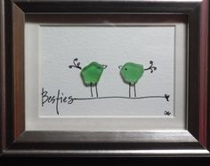 Besties - Original design of two whimsical birds made from genuine sea glass standing on a hand lettered word