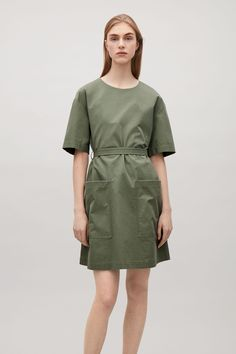 COS image 2 of Dress with back buttons in Khaki Green