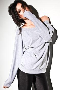 Off Shoulder Sweatshirt Oversized Dolman Sweater  Small por lamixx
