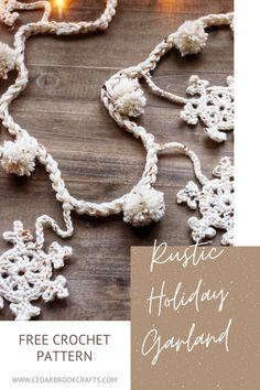 Crochet Christmas Garland, Handmade Christmas Crafts, Crochet Garland, Snowflake Garland, Crochet Ornaments, Christmas Crochet Patterns, Simple Crochet Patterns, Crochet Bunting Free Pattern, Crochet Snowflake Pattern
