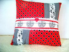 Zippered Red White and Black Decorative Pillow by HopeisHipofMaine