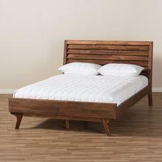 Sierra Midcentury Modern Wood Platform Bed Brown Queen - Baxton Studio