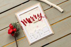 Merry Christmas card. Town under snow. #christmascards #handmadecards #snowycards