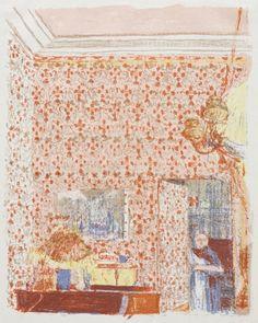 edouard vuillard interieur mit rosa tapete I, 1899 lithograph Pierre Bonnard, Städel Museum, Van Gogh Museum, Edouard Vuillard, Art And Illustration, National Gallery Of Art, Paul Gauguin, Maurice Denis, Post Impressionism