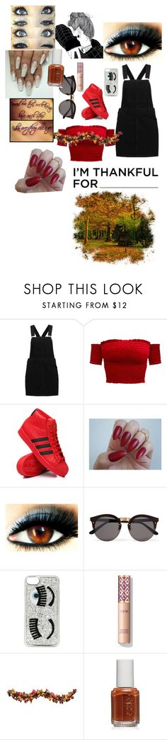 """""""happy thanksgiving"""" by diamondinthesky13 ❤ liked on Polyvore featuring adidas, Illesteva, Chiara Ferragni, Improvements and Essie"""