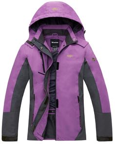 Wantdo Women's Quick Dry Fabric With Warm Jacket For Mountain Purple US S. Waterproof:Water resistant and breathable.Keep you dry in rainy day and outdoor activities. Windproof:Easy to deal with wind. Lightweight:Soft material.Easy to carry. Storage:1)TWO hand pockets: Suitable for money. 2)ONE chest pocket: Holds smaller objects like keys. 3)ONE large inner chest pocket:Could fit a passport/a wallet/a cellphone.4)ONE large inner mesh elastic pocket:Holds bigger objects. Application…