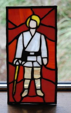 Luke Skywalker Farmboy early bird stained glass, vintage star wars.  original 12