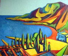 "landscape ""Wife man to fish"" Koktebel 2013 canvas / oil painting picture / photo Jena mujika s riboy Коктебель рисунок/фото"