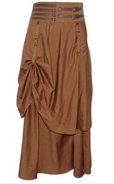 Steampunk Rock gerafft Braun Mittelalter Larp Vintage Skirt dress Fantasy brown