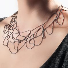 Wide Topography Necklace Oxidized Silver By Melissa Borrell