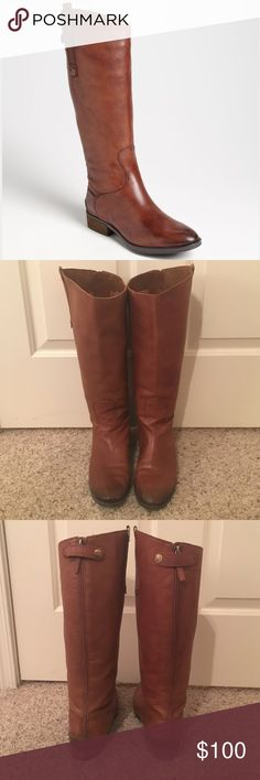 """Sam Edelman Penny Riding Boot- WIDE CALF In the color Whiskey. It has a 1 inch heel.  16 3/4"""" boot shaft; 15""""- 16"""" calf circumference. It has Back zip with snap-tab closure. I LOVE this boot, but they are now too big on my calf! They have been worn, but are in great condition! Sam Edelman Shoes Winter & Rain Boots"""
