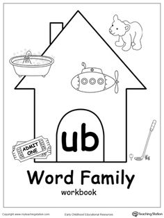 UB Word Family Workbook for Kindergarten: Our UB Word Family Workbook includes a variety of printable worksheets to help your child boost their reading and writing skills. The workbook includes printable worksheets and flashcards of common words ending with UB.